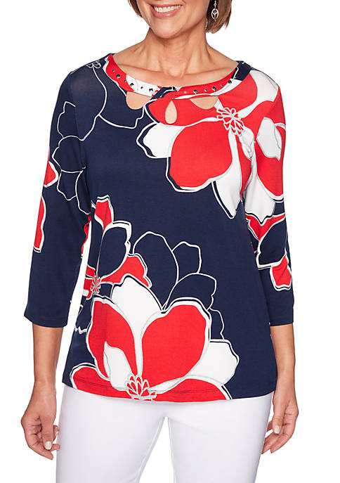 Alfred Dunner In the Navy Exploded Flowers Knit
