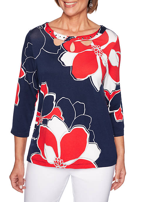 Alfred Dunner Petite Exploded Flowers Knit Top