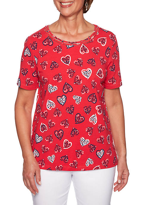 Alfred Dunner Petite Tossed Hearts Knit Top
