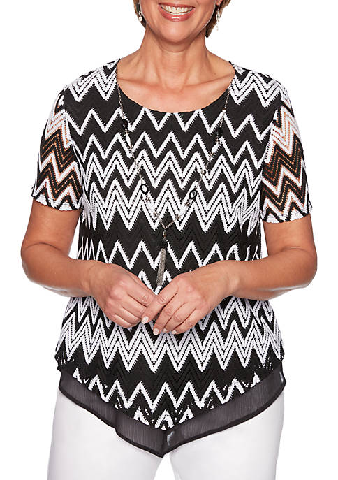 Alfred Dunner Cayman Islands Zig Zag Lace Knit