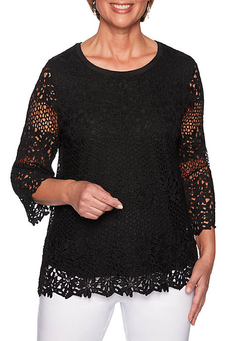 Alfred Dunner Cayman Islands Solid Lace Biadere Knit