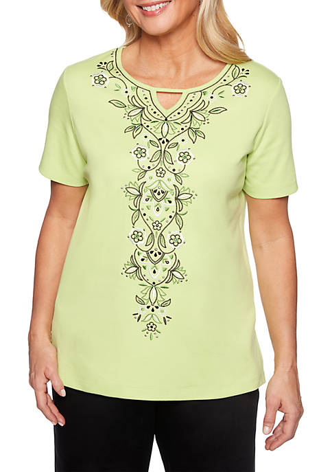 Alfred Dunner Center Embroidery Knit Top