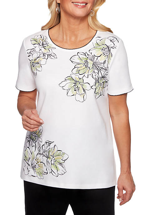 Alfred Dunner Cayman Islands Floral Embroidery Knit Top