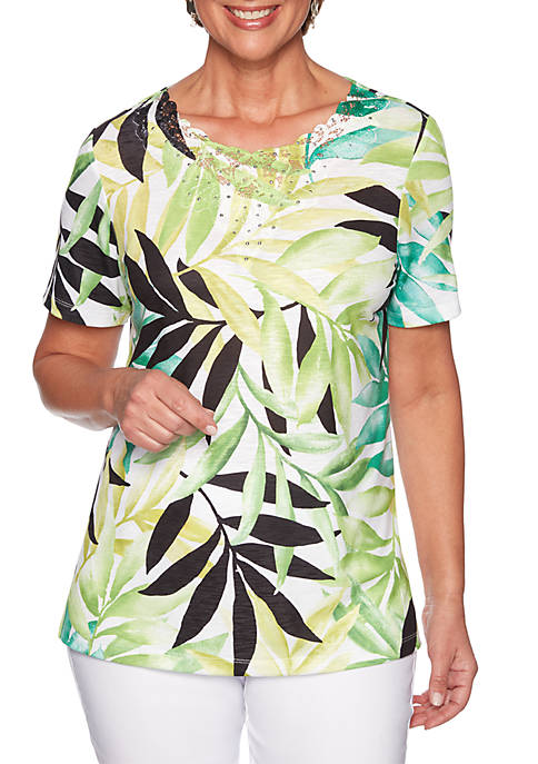 Alfred Dunner Cayman Islands Tropical Leaves Knit Top