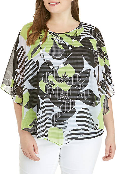 Alfred Dunner Plus Size Cayman Island Floral Stripe