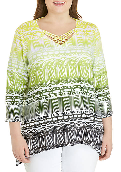 Alfred Dunner Plus Size Cayman Island Ethnic Biadere