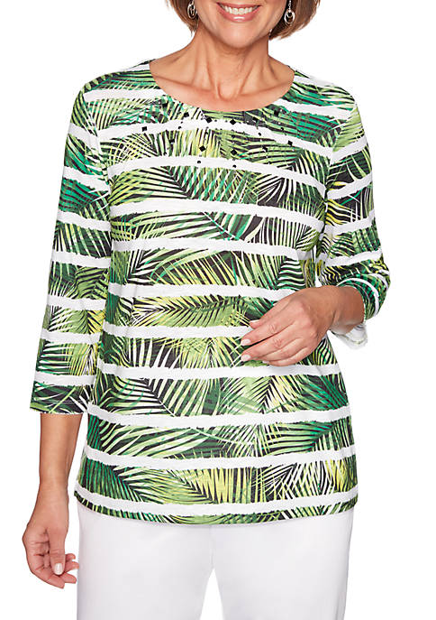 Alfred Dunner Petite Cayman Islands Fern Biadere Knit