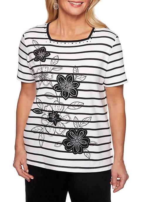 Alfred Dunner Petite Cayman Islands Stripe Floral Applique