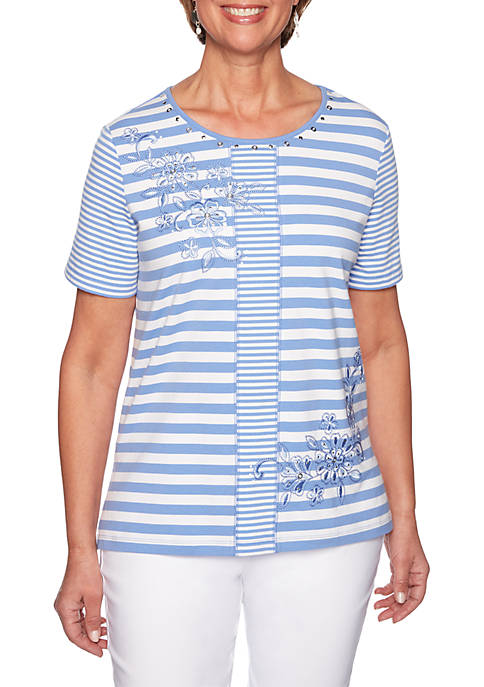 Alfred Dunner The Summer Wind Spliced Stripe Embroidery