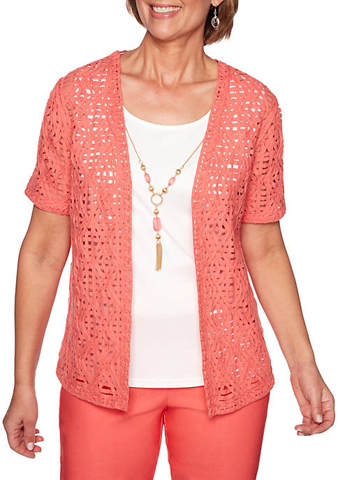 Alfred Dunner Coastal Drive Lace Woven 2Fer Top