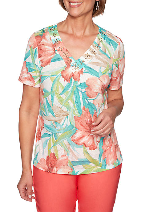 Alfred Dunner Coastal Drive Tropical Flowers Knit Top