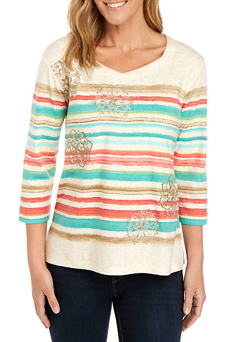 Alfred Dunner Coastal Drive Stripe Medallion Embroidered Knit