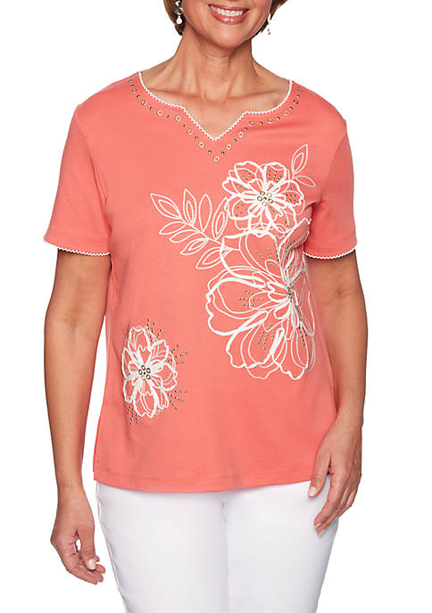 Alfred Dunner Coastal Drive Flower Soutache Knit Top