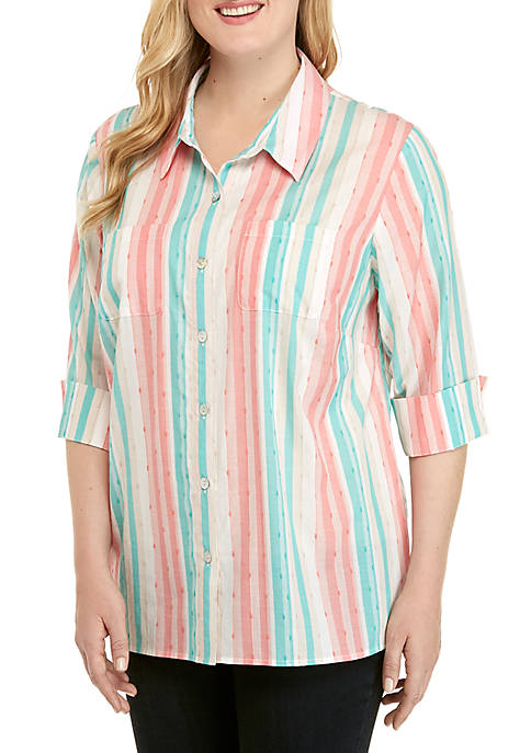 Alfred Dunner Plus Size Coastal Drive Striped Woven