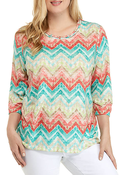 Alfred Dunner Plus Size Coastal Drive Textured Chevron