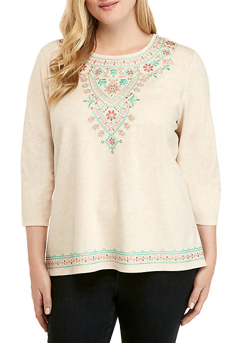 Alfred Dunner Plus Size Coastal Drive Embroidered Yoke