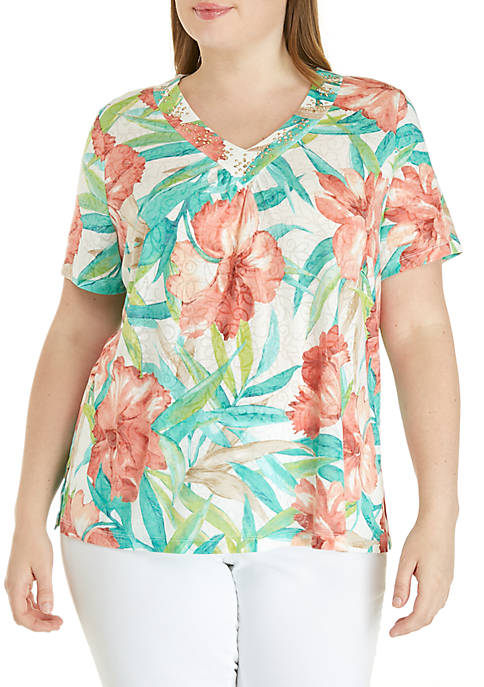 Alfred Dunner Plus Size Coastal Drive Tropical Flowers