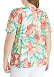 Plus Size Coastal Drive Tropical Flowers Knit Top