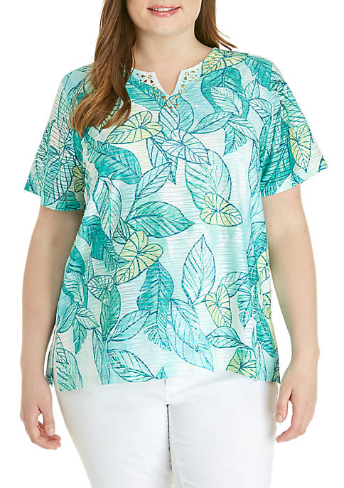 Alfred Dunner Plus Size Coastal Drive Texture Leaves