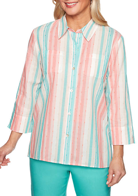 Alfred Dunner Petite Coastal Drive Stripe Woven Shirt
