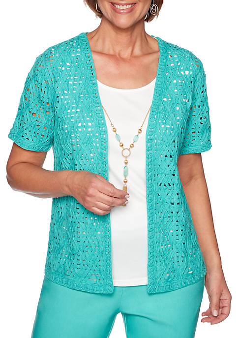 Alfred Dunner Petite Coastal Drive Woven Lace 2Fer
