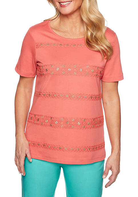 Alfred Dunner Petite Coastal Drive Lace Trim Biadere