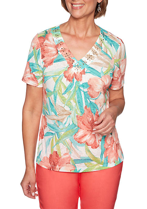 Alfred Dunner Petite Coastal Drive Tropical Flowers Knit