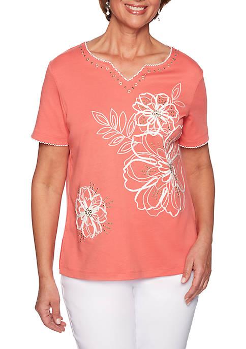 Alfred Dunner Petite Coastal Drive Flower Soutache Knit