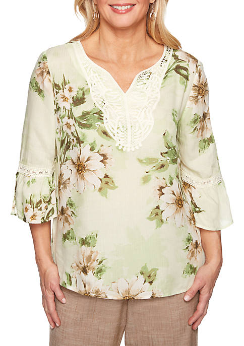 Alfred Dunner Santa Fe Watercolor Floral Bell Sleeve