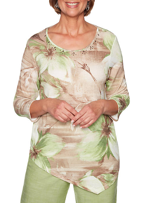 Santa Fe Exploded Floral Textured Knit Top