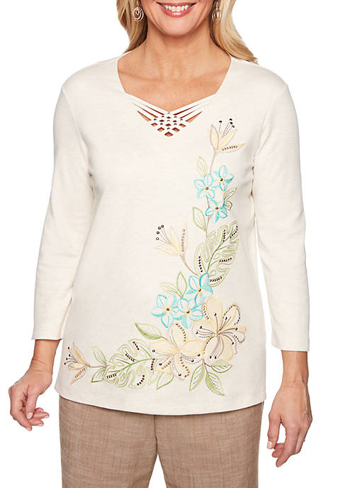 Alfred Dunner Santa Fe Asymmetrical Tropical Embroidery Knit