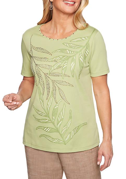 Womens Santa Fe Embellished Leaf Knit Top