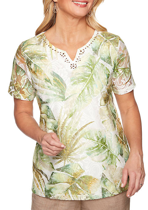Alfred Dunner Santa Fe Abstract Leaves Knit Top