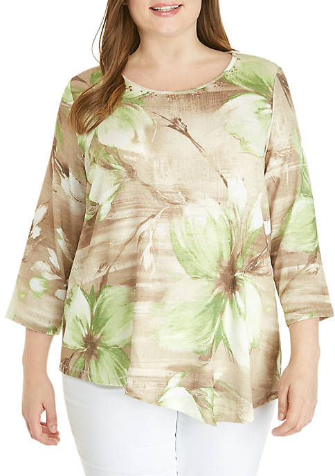 Plus Size Santa Fe Exploded Floral Textured Knit Top