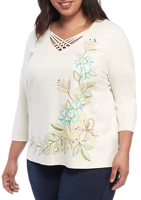 Alfred Dunner Plus Size Santa Fe Asymmetrical Tropical
