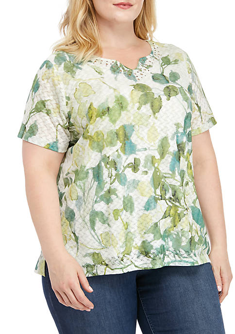 Alfred Dunner Plus Size Santa Fe Abstract Leaves