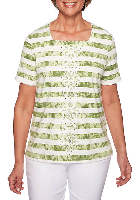 Petite Santa Tie Dye Center Embroidery Knit Top