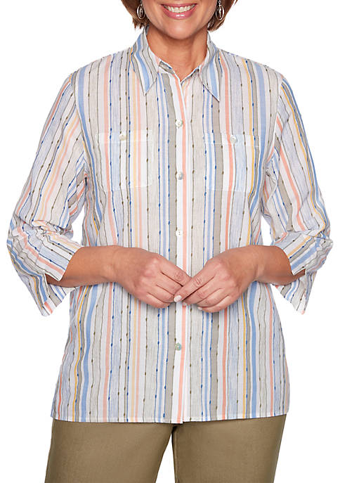 Alfred Dunner Lake Tahoe Dobby Stripe Woven Top