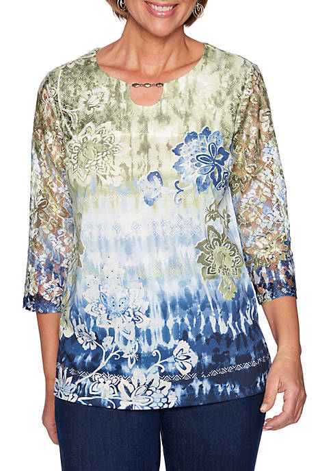 Alfred Dunner Lake Tahoe Ikat Floral Top with