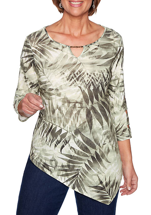 Alfred Dunner Lake Tahoe Monotone Tropical Leaves Knit