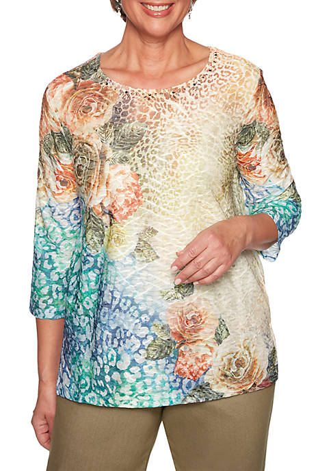 Alfred Dunner Lake Tahoe Animal Floral Knit Top