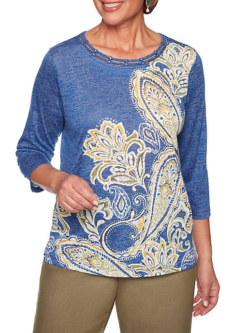 Alfred Dunner Lake Tahoe Asymmetric Paisley Knit Top