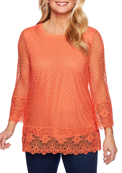 Alfred Dunner Lake Tahoe Border Lace Knit Top