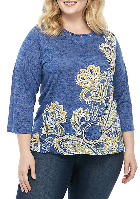 Alfred Dunner Plus Size Lake Tahoe Asymmetric Paisley