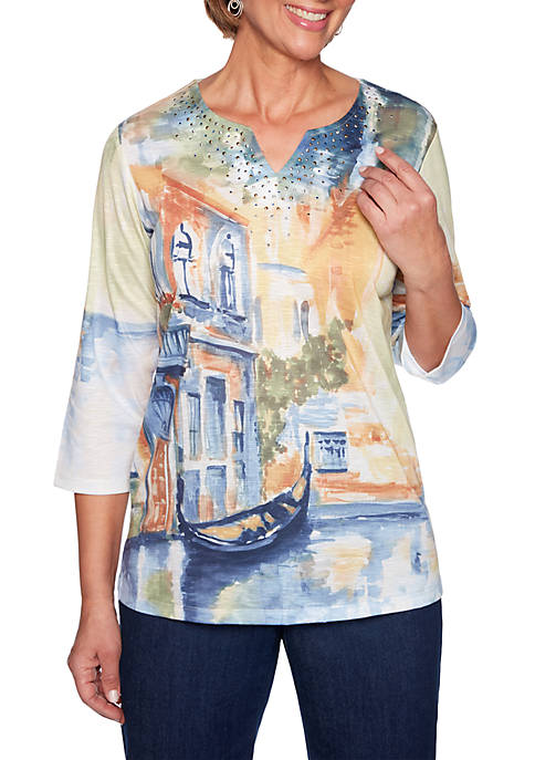 Alfred Dunner Petite Lake Tahoe Scenic Knit Top