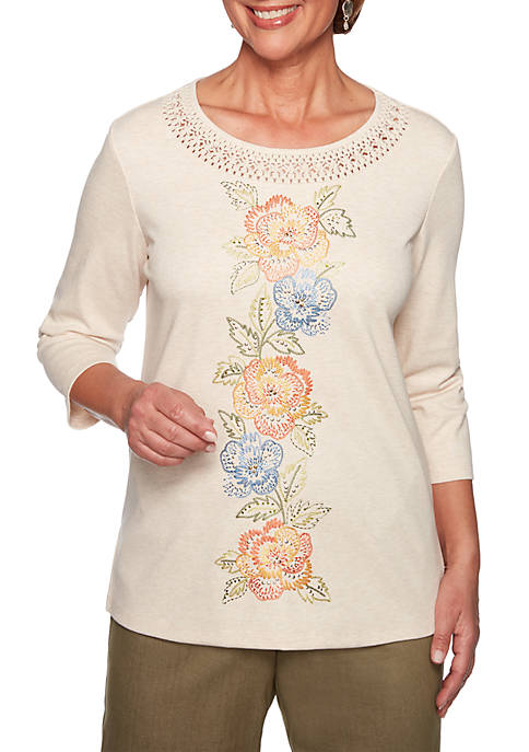 Alfred Dunner Petite Lake Tahoe Floral Center Knit