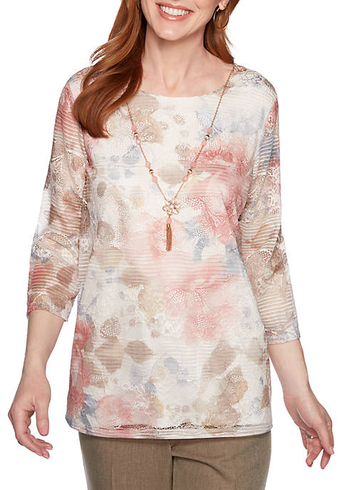 Alfred Dunner Boardroom Text Floral Top