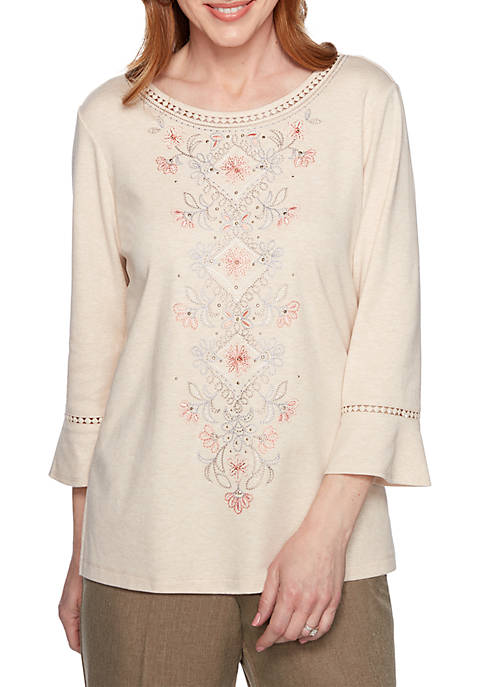 Alfred Dunner Boardroom Embroidered Center Medallion Knit Top