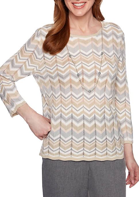 Alfred Dunner Boardroom Chevron Lurex Sweater