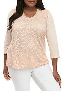 Alfred Dunner Plus Size Boardroom Lace Front Knit Top